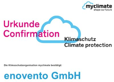 Zusammenarbeit von myclimate und enovento